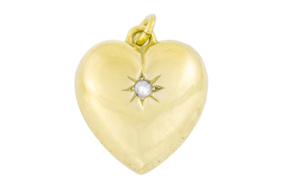 Antique 15ct Gold Heart Diamond Pendant