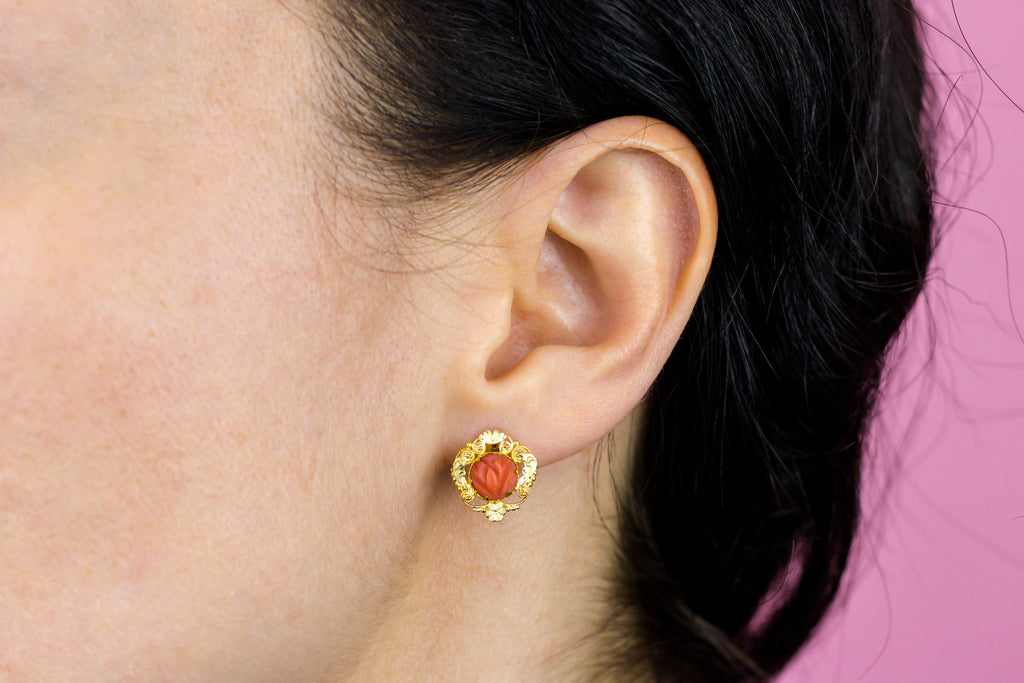 Georgian 18ct Gold Coral Earrings
