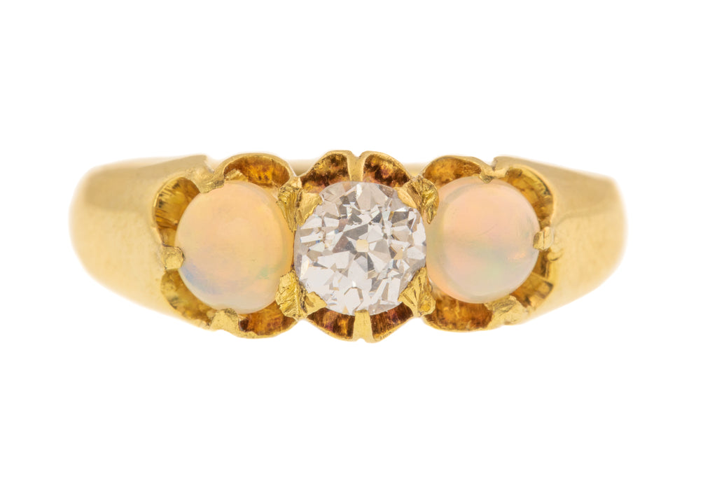 18ct Gold Antique Diamond Opal Trilogy Ring (0.33ct)