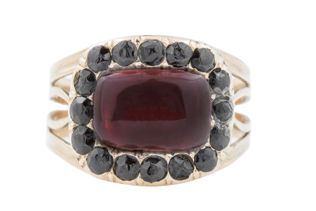 Georgian Jet & Garnet Mourning Ring in 10ct Gold