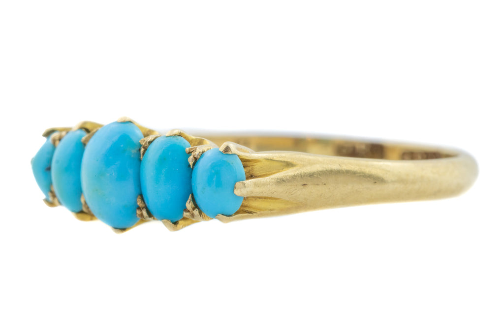 18ct Gold Antique Turquoise Five Stone Ring