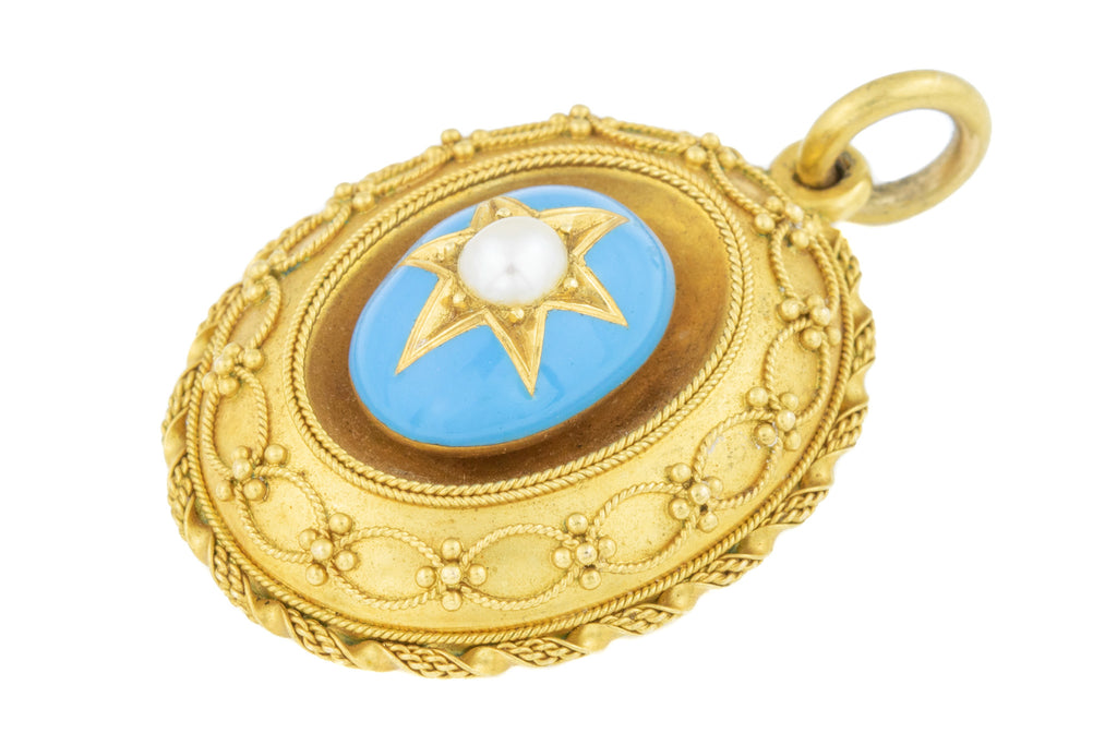 Antique Etruscan Blue Enamel and Pearl Pendant