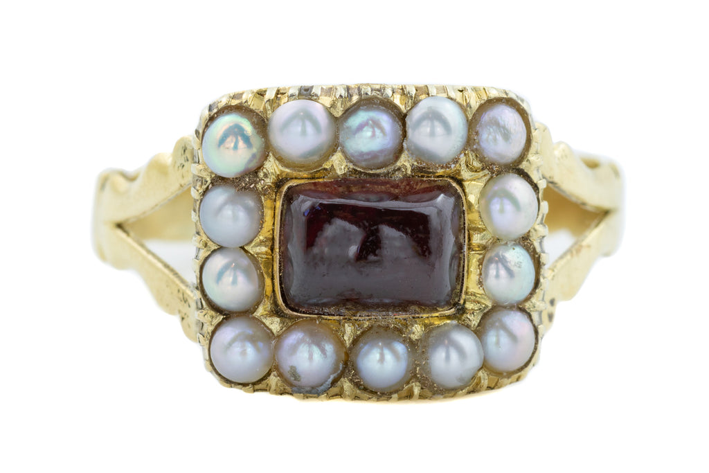Georgian Garnet and Pearl Mourning Ring