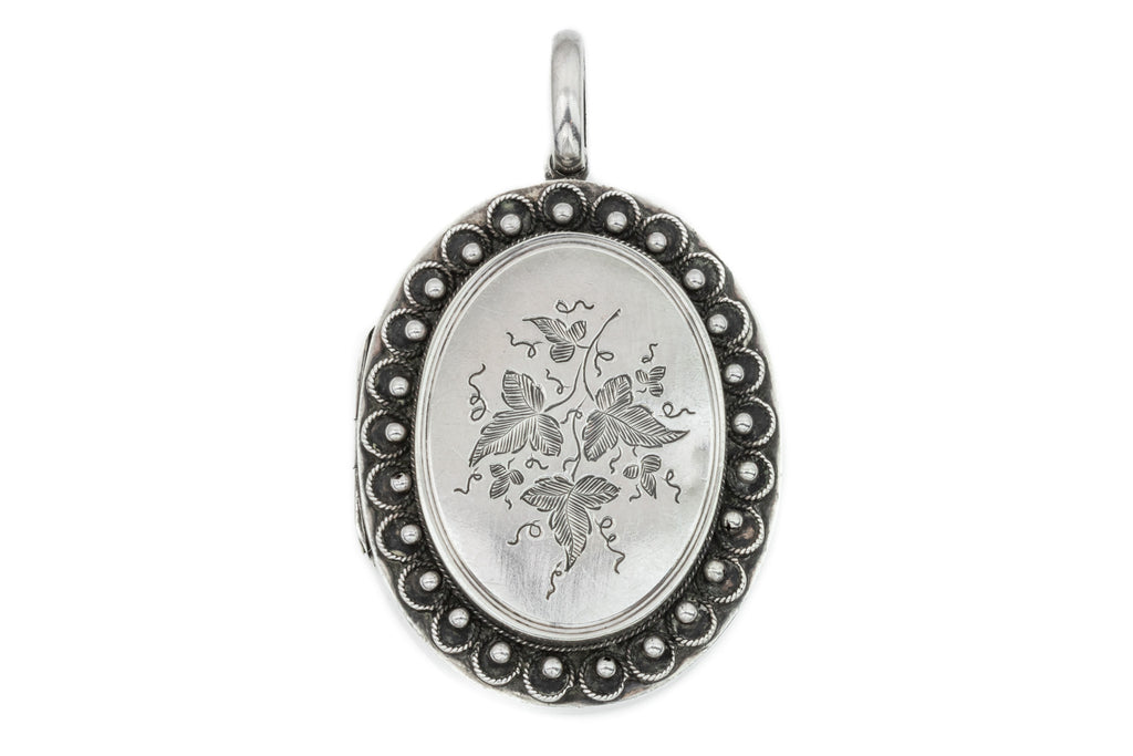 Victorian Aesthetic Silver Locket with Beaded Detail and Ivy