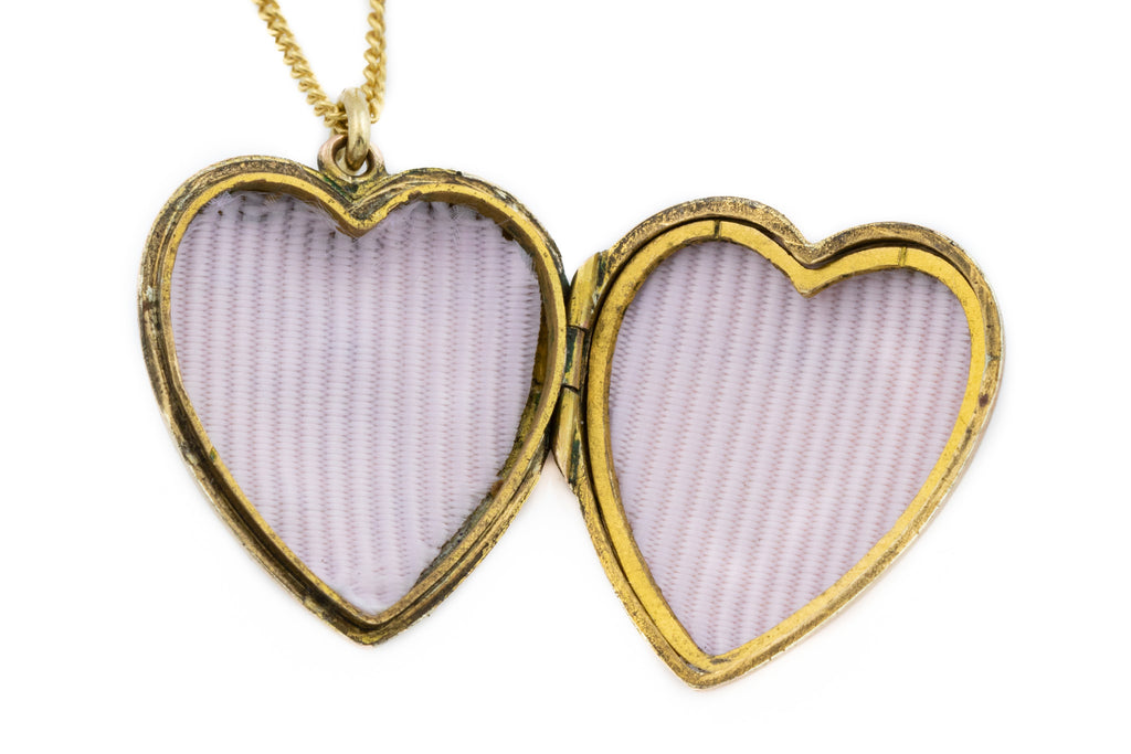 Antique Gold Heart Locket with Turquoise Glass and Diamond