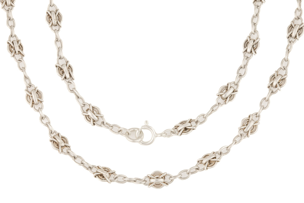 "Antique Silver Fancy Chain with Lozenge Cross Links, 20 & 1/2"" (13.6g)"