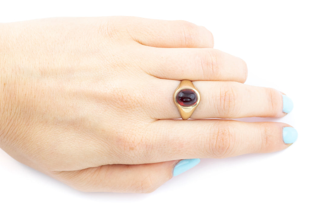 Antique Red Glass Cabochon Ring