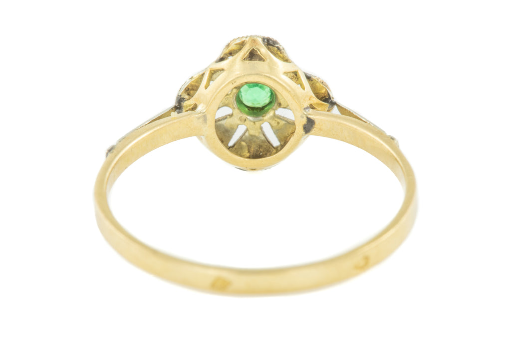 18ct Gold Art Deco Emerald Paste French Dress Ring