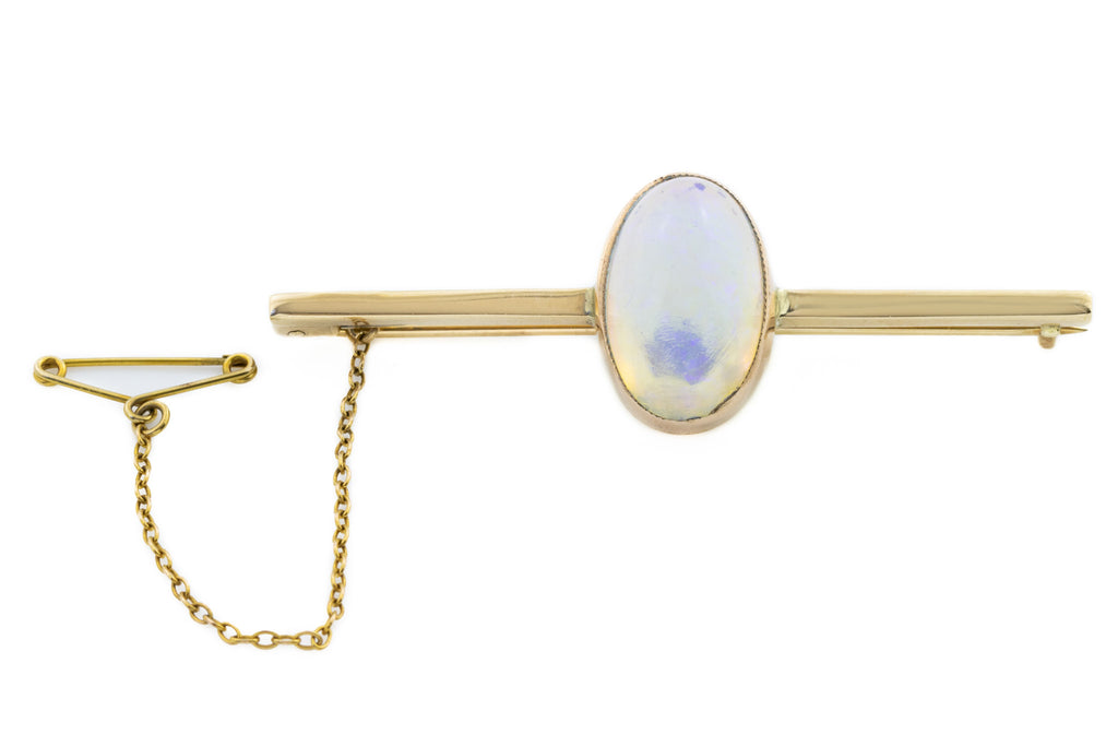9ct Gold Antique Crystal Opal Brooch with Box (4.32ct)