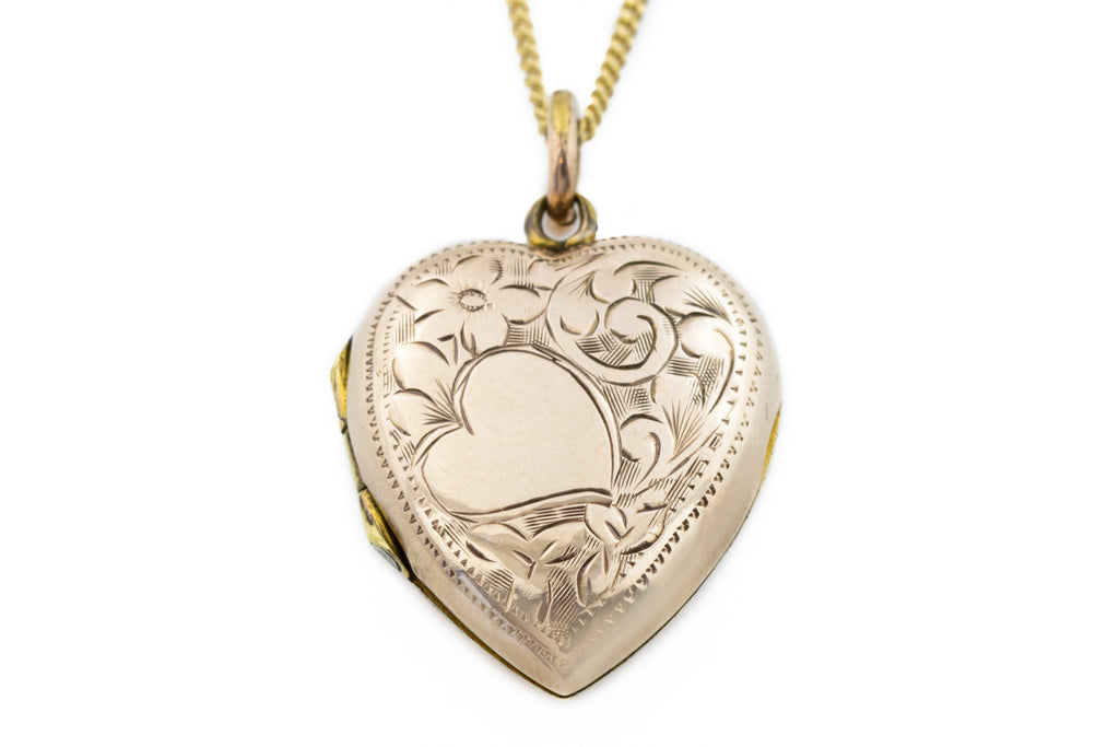 "Antique Gold Heart Locket Necklace, with 18"" Chain"