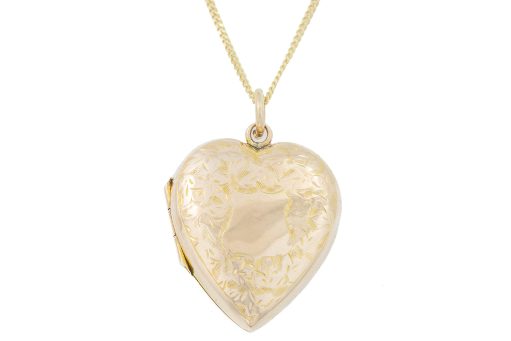 "Antique Gold Heart Locket, with 18"" Chain"