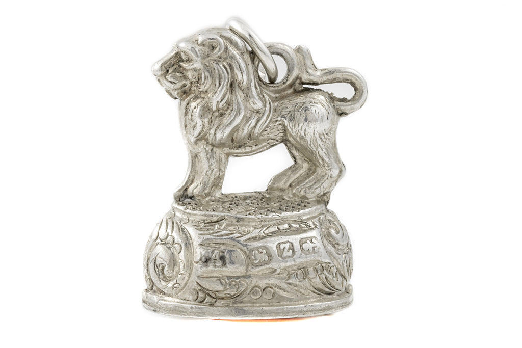 Art Deco Lion Fob Pendant with Orange Carnelian c.1924