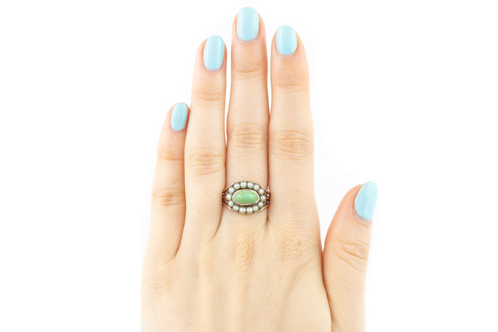 Georgian Turquoise and Pearl Oval Cluster Ring