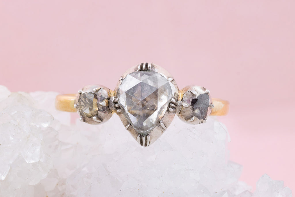 Georgian Diamond Trilogy Ring in 18ct Gold (1.1ct)