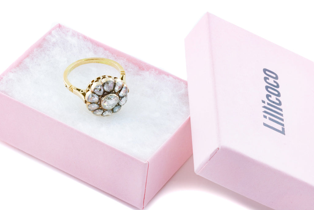 Dreamy Antique Rose Cut Diamond Cluster Ring in 15ct Gold