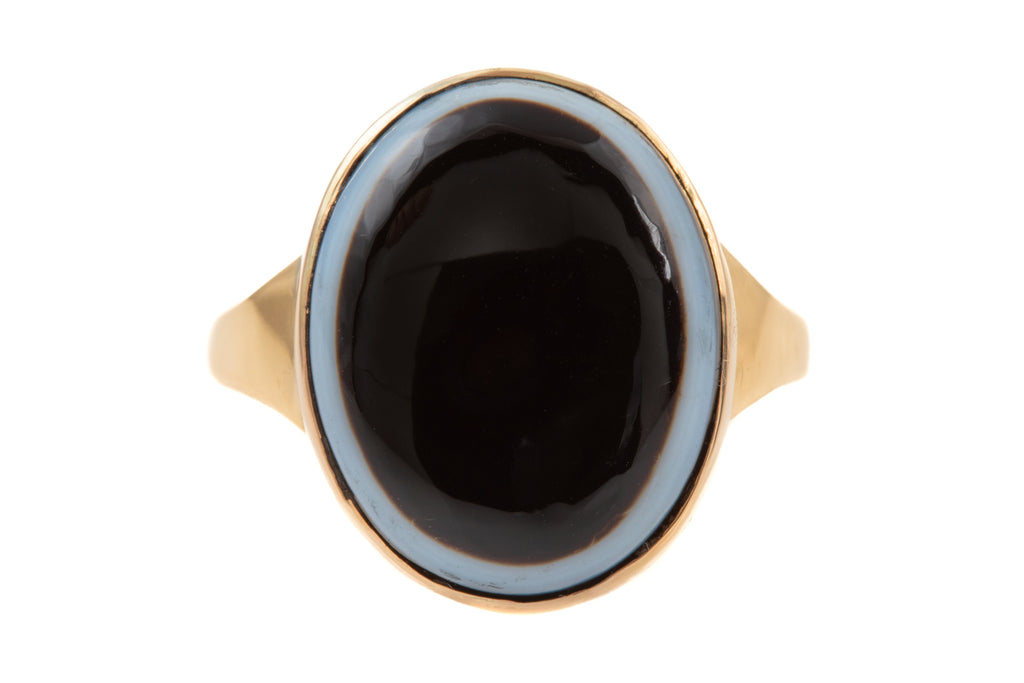 "Victorian 15ct Gold Banded Agate ""Bulls Eye"" Ring"
