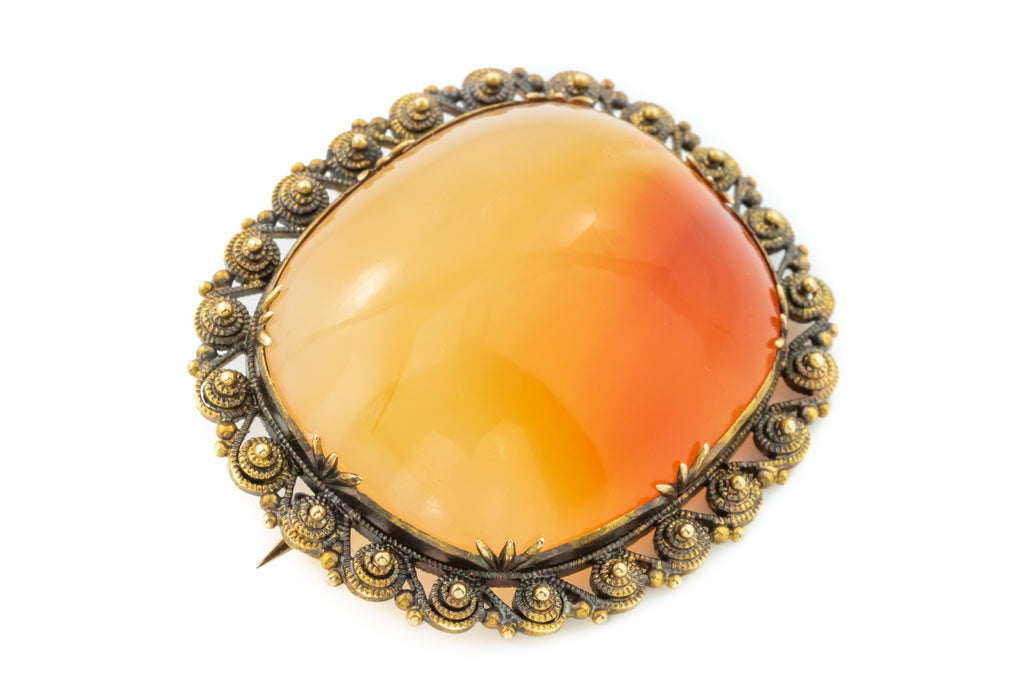 Georgian 9ct Gold Carnelian Brooch