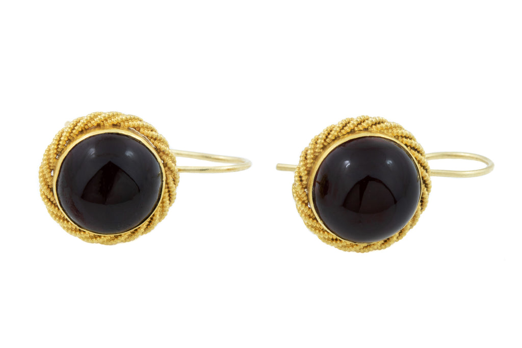 Gold Antique Garnet Cabochon Earrings (8.74 ct)