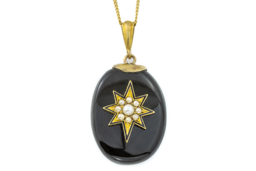 Onyx Victorian Pearl Starburst Charm Pendant in 9ct Gold with Chain