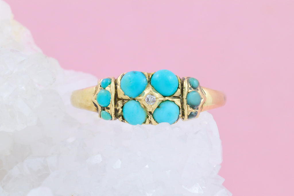 15ct Gold Victorian Turquoise Forget-Me-Not Ring