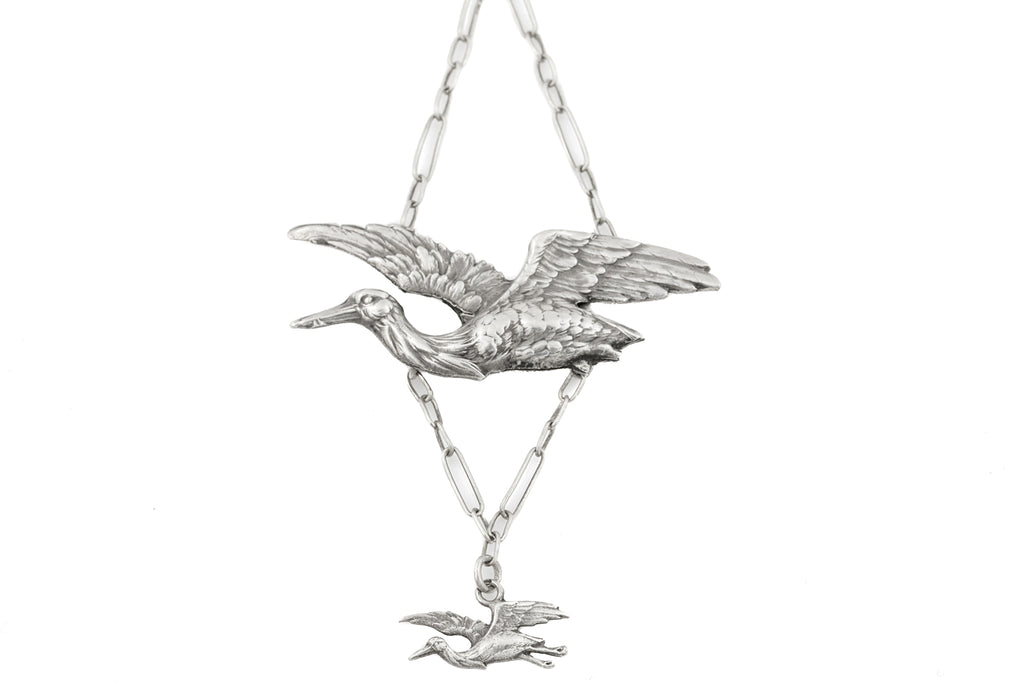Art Nouveau Silver Stork Necklace, 18 & 1/4""