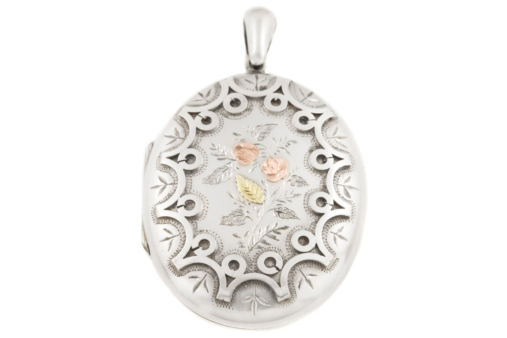 Victorian Oval Silver Locket with Rose Gold Flowers