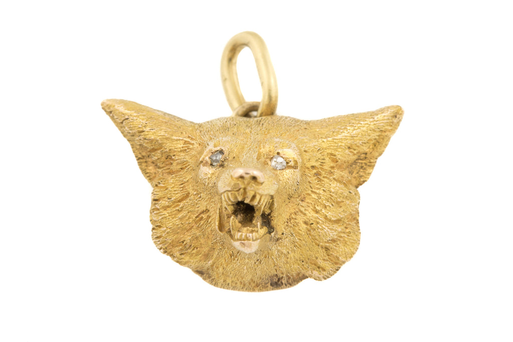 Rare Antique 15ct Gold Fierce Fox Pendant with Diamond Eyes