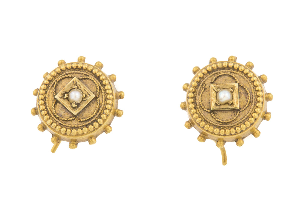Tiny 15ct Gold Etruscan Revival Pearl Earrings c.1891