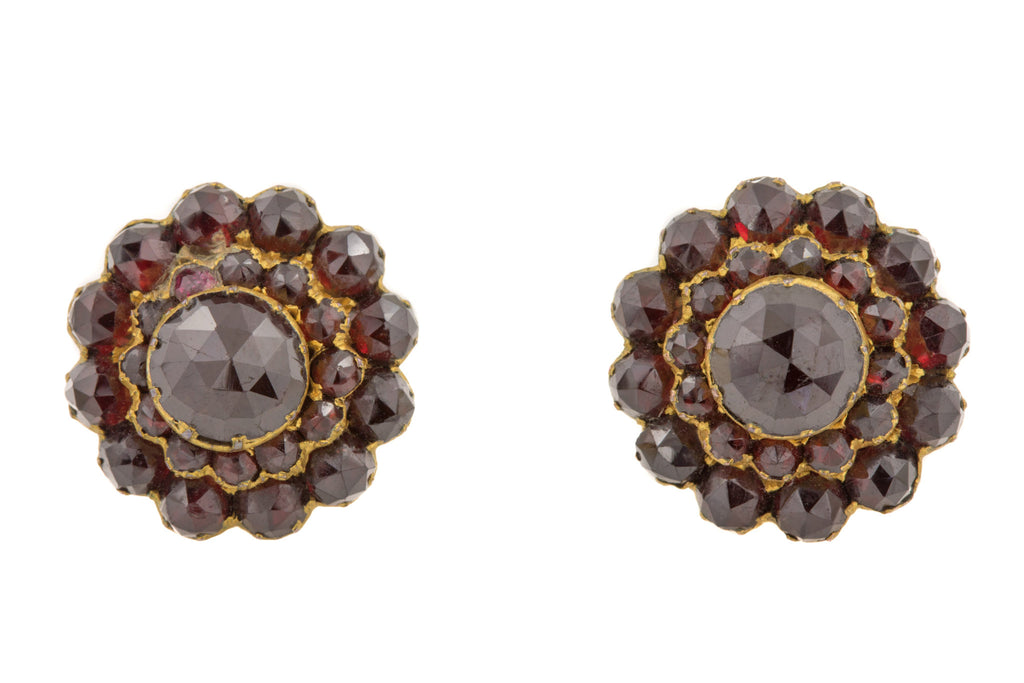 Victorian Rose Cut Garnet Cluster Earrings (6.92ct)