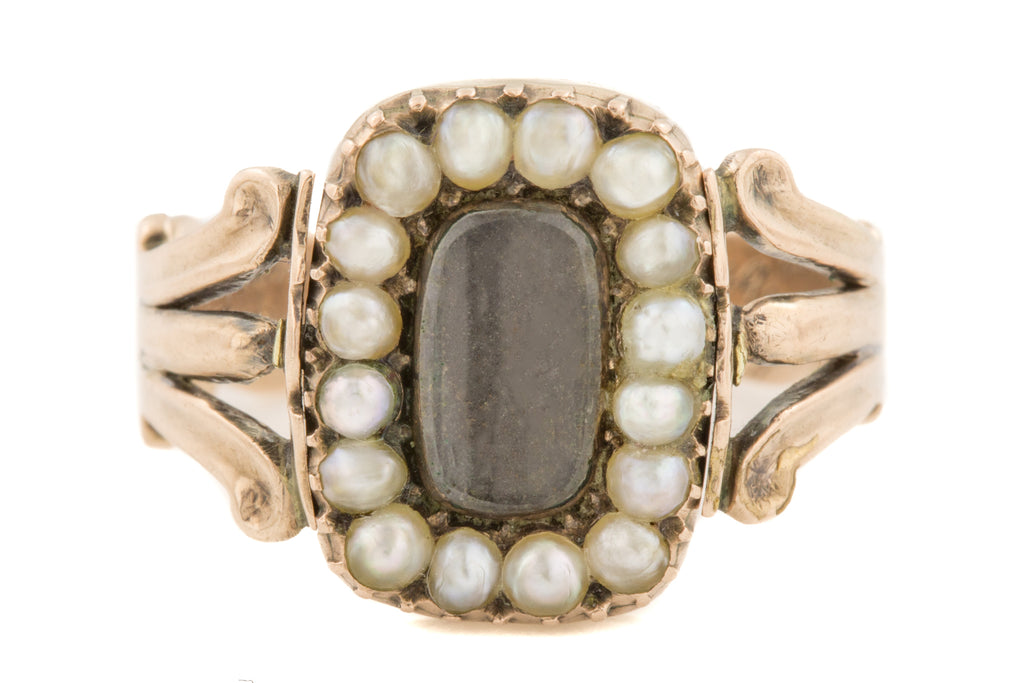Rare Georgian Gold Pearl Enamel Flip Mourning Ring, c.1814