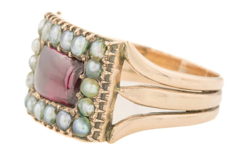 Georgian Gold Garnet Pearl Mourning Ring c.1811