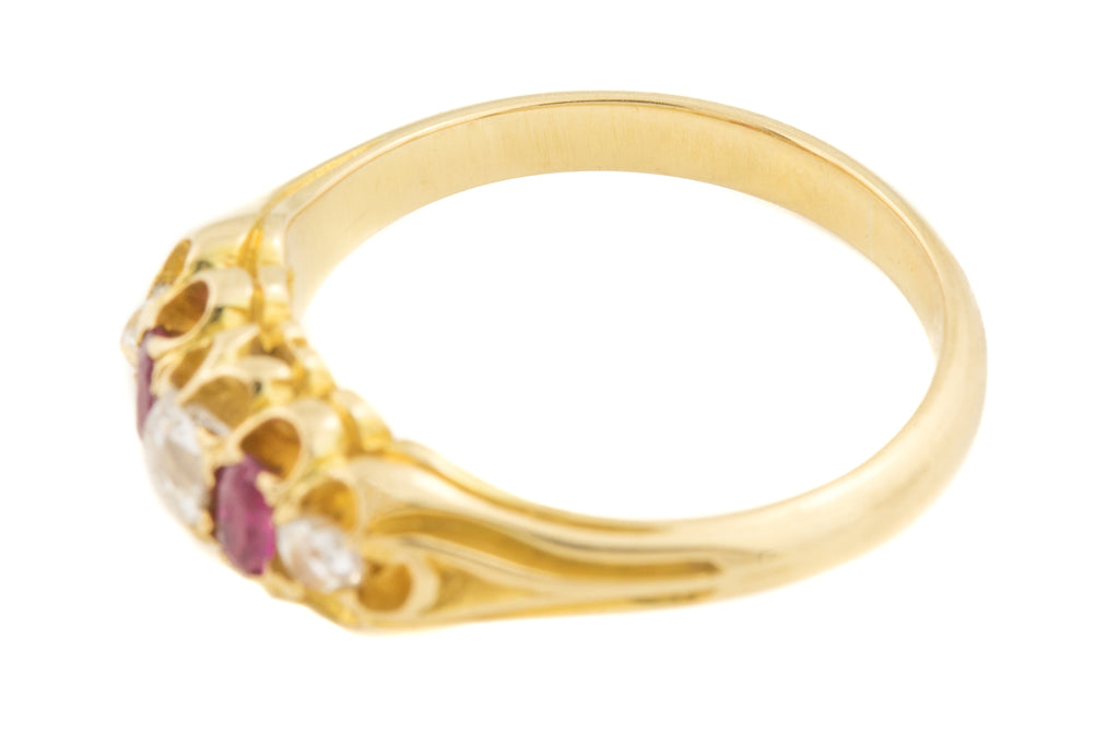 Victorian 18ct Gold Ruby Diamond Five Stone Ring