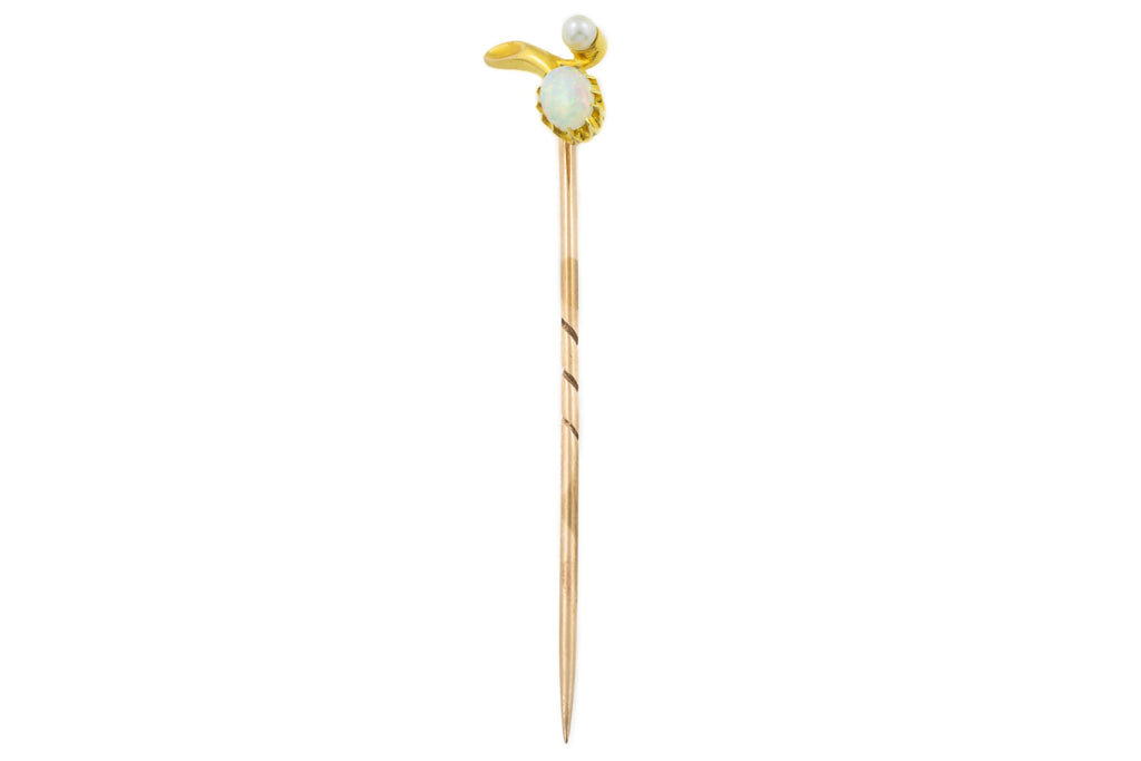 Edwardian 15ct Gold Opal and Pearl Stick Pin (0.27ct)