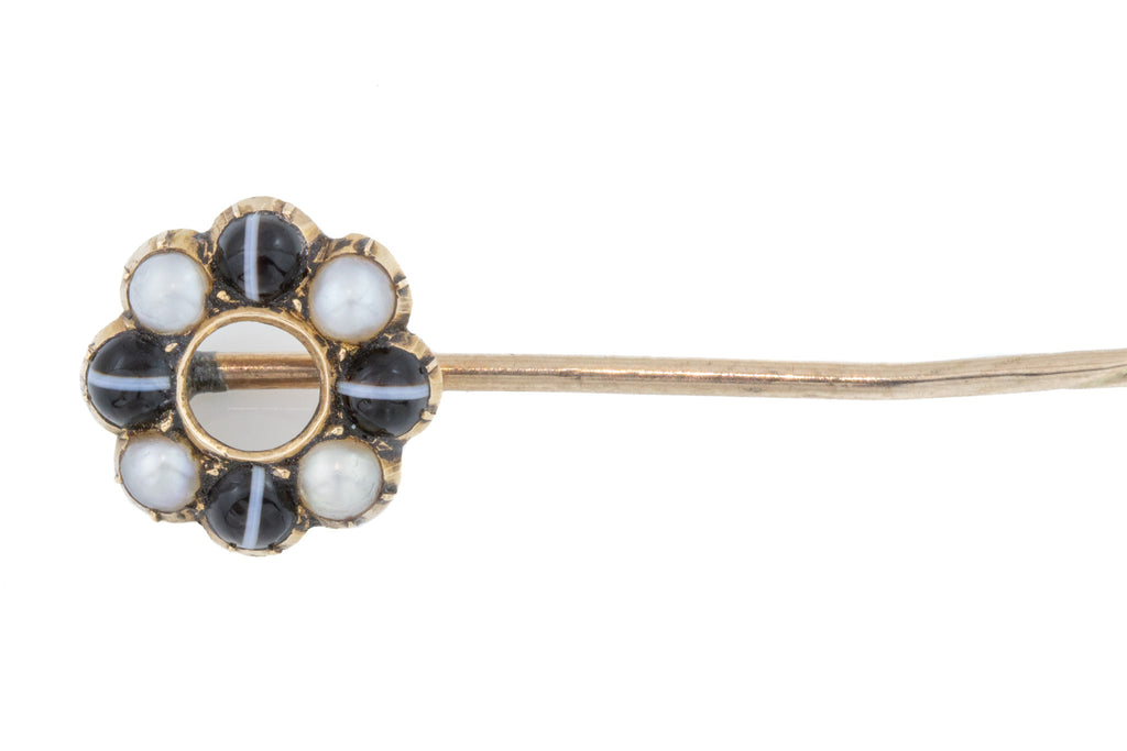 10ct Gold Antique Banded Agate and Pearl Stick Pin