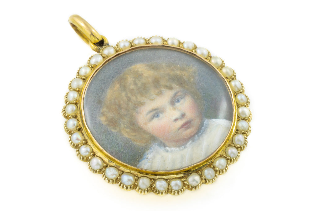 Antique Gold Pearl Locket with Child Portraits