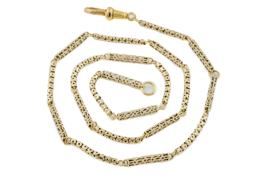 "Antique 9ct Gold Victorian Pierced Gold Guard Chain, 19"" (8.8g)"