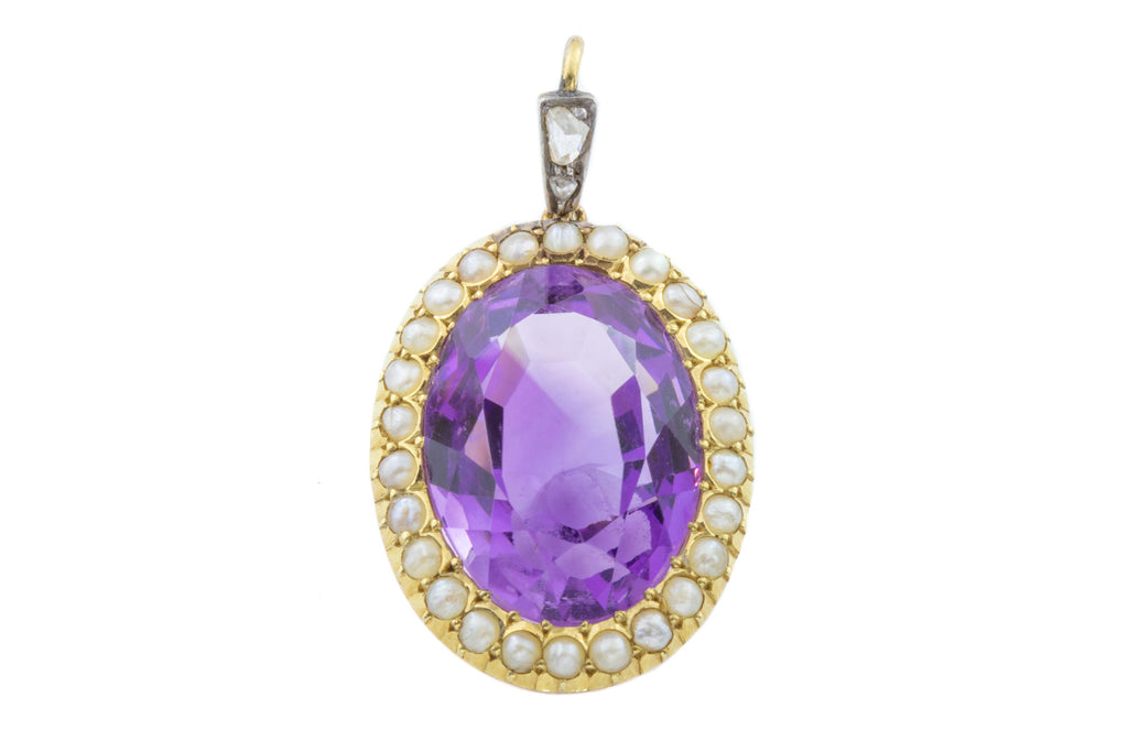 Antique 15ct Gold Amethyst and Pearl Pendant with Rose Cut Diamond Bale