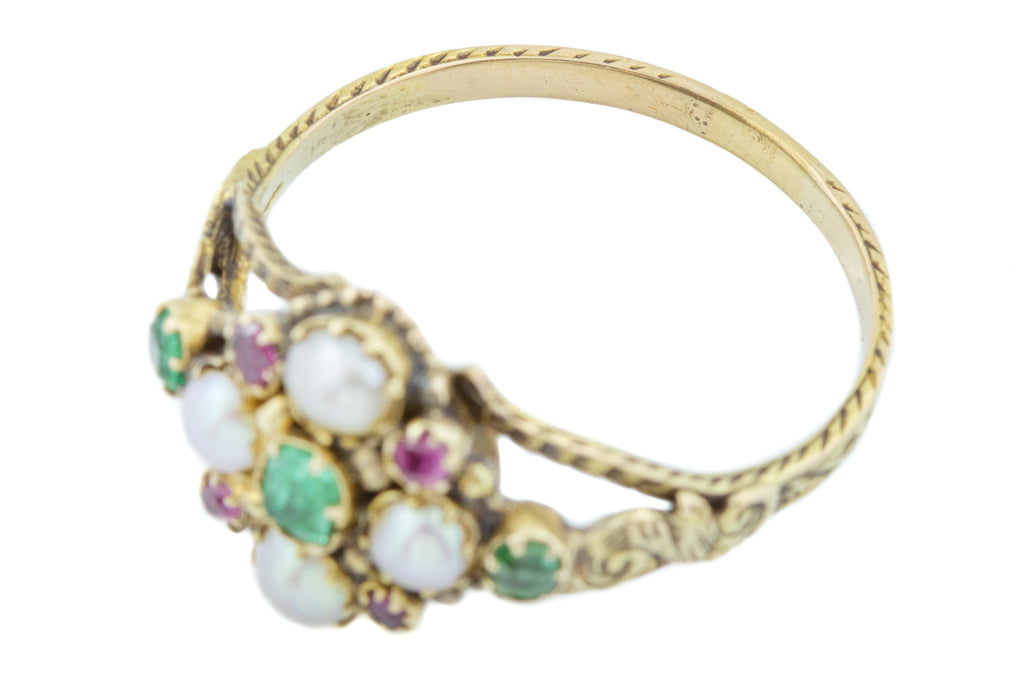 Georgian 16ct Gold Pearl, Emerald and Ruby Cluster Ring