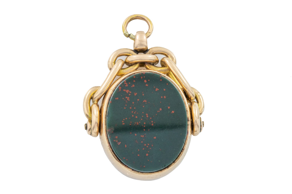 Antique 9ct Gold Bloodstone and Carnelian Spinner Fob Pendant