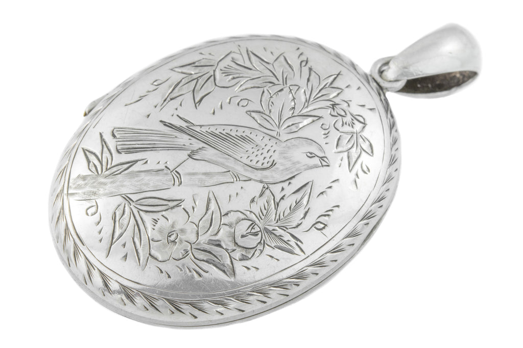 Victorian Silver Locket with Sweet Bird Motif