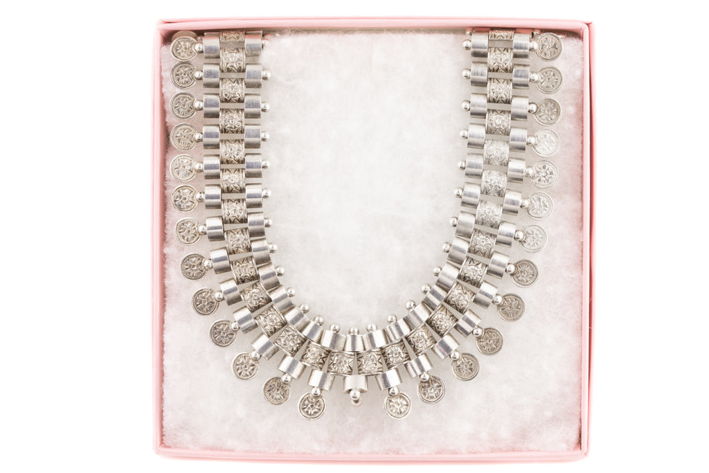 Victorian Silver Book Chain Fringe Necklace, 17""