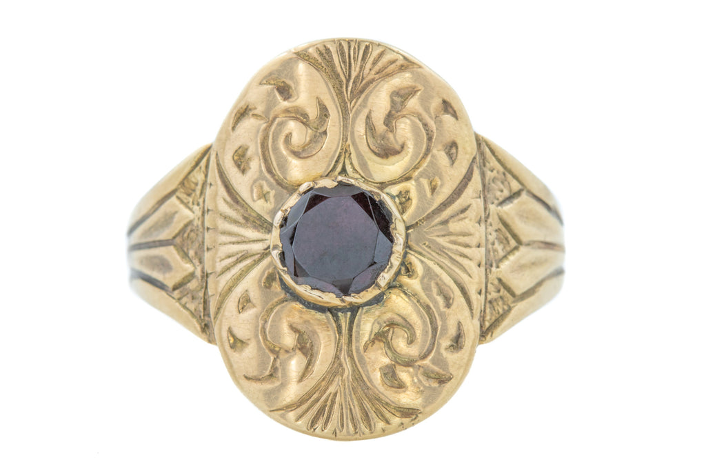 12ct Gold Early Victorian Garnet Oval Panel Ring