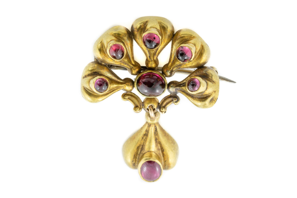 Early Victorian 15ct Gold Brooch with Garnets