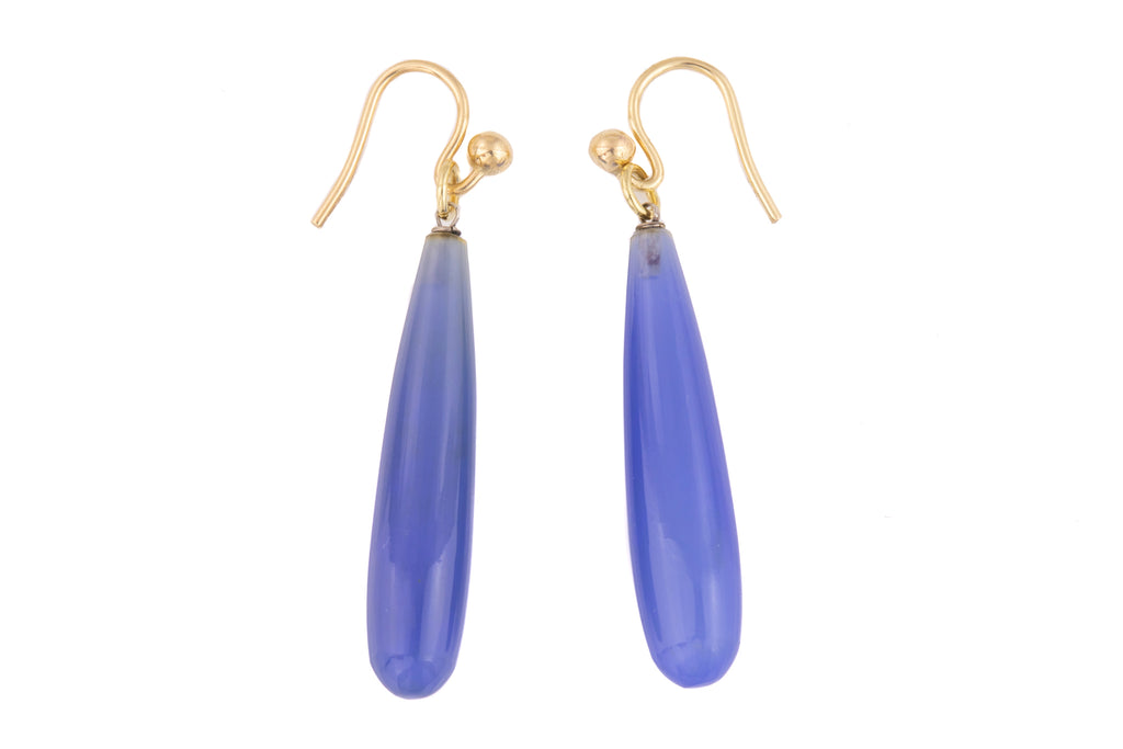 Antique Gold Blue Chalcedony Earrings