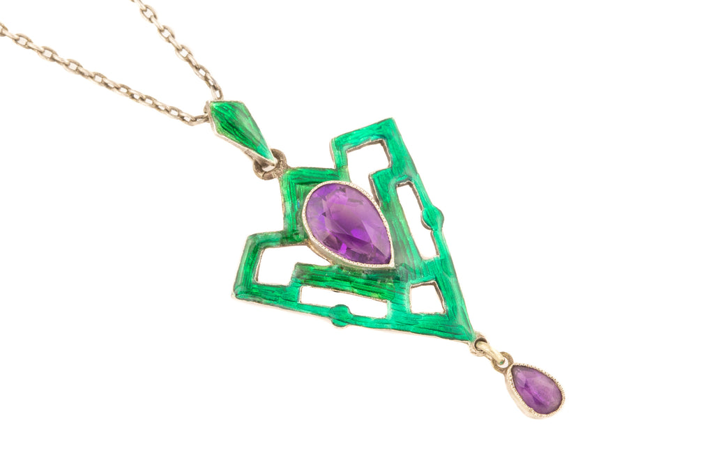 "Art Nouveau Silver Enamel Amethyst Pendant (2.06ct), with Antique 17"" Chain"