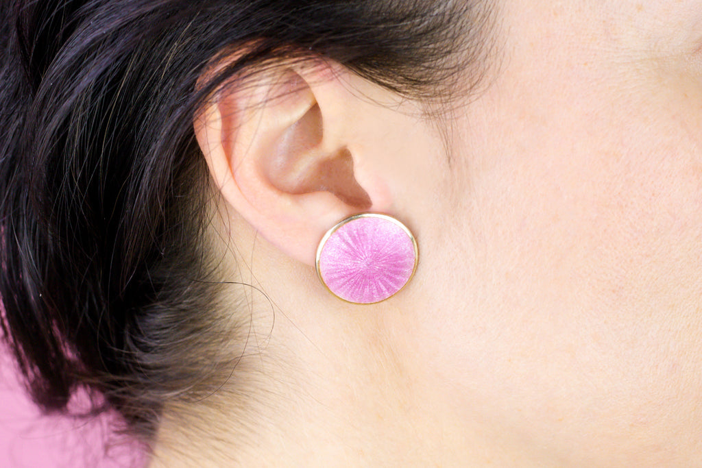 Scandinavian Silver Pink Enamel Disk Earrings