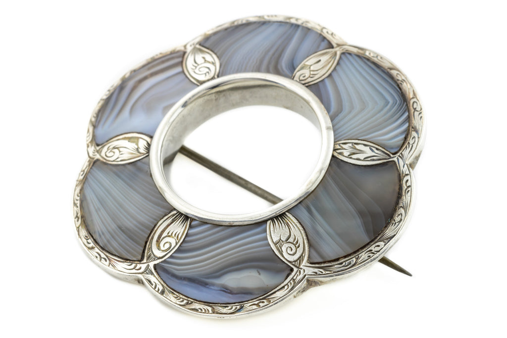 Large Silver Scottish Agate Brooch Pendant