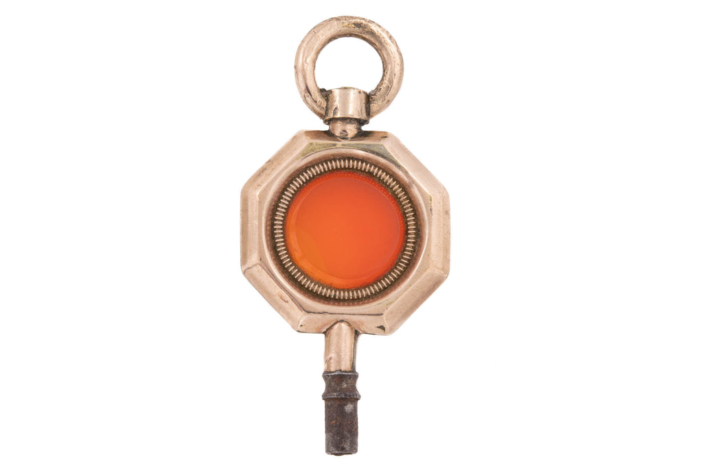 Gold Georgian Carnelian Watch Key Charm Pendant