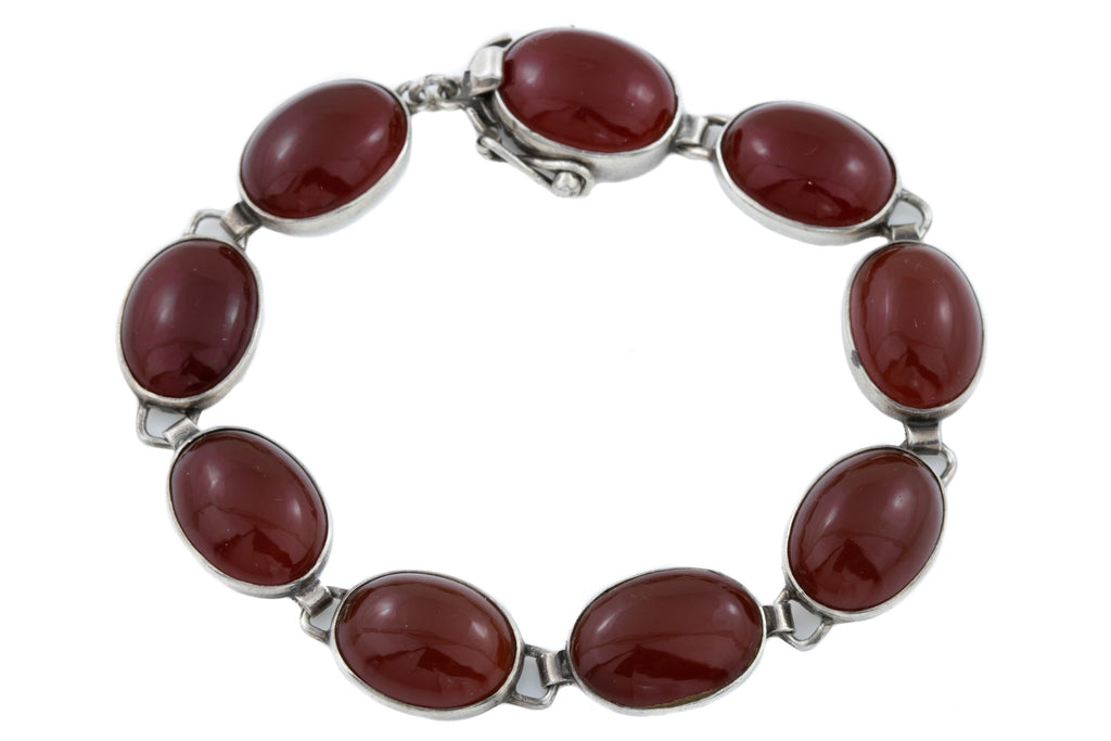 Sterling Silver Carnelian Bracelet signed TM & Co