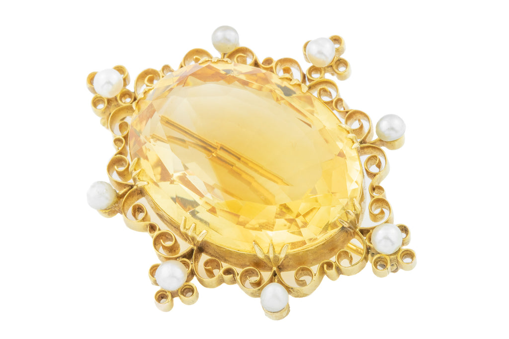 18ct Gold Large Citrine & Pearl Brooch (33.9ct)